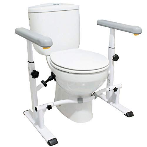 KMINA - Barra baño minusválido, Estructura de apoyo para inodoro, Reposabrazos inodoro para ancianos, Asideros baño, Barras minusválidos wc, Apoyabrazos inodoro, Barra inodoro.
