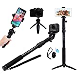 Rugged 4-in-1 Selfie Stick Tripod Stand Kit + Bluetooth Remote – Universal: Any iPhone, Android, GoPro or Camera – iPhone 12 11 Pro Mini Max XS XR X 8 7 6 Plus, Samsung etc.