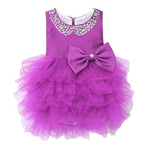 Alvivi Vestido Princesa de Fiesta Navidad Boda para Bebé Niñas Traje de Dama de Honor Vestido de Danza para Actuaciones Vestido sin Manga para Banquete de Cumpleaños Morado 12-24 Meses