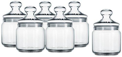 6 x tarro Luminarc Club 0,5 litro, recipiente de cristal, dulces para vidrio, bote, 500 ml