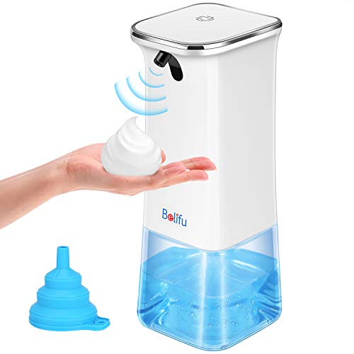 Belifu Automatic Soap Dispenser, 350ml Electric Touchless Battery Operated Foaming Soap Dispenser, Auto Hand Free with Smart Infrared Sensor for Bathroom Kitchen Toilet Office Hotel