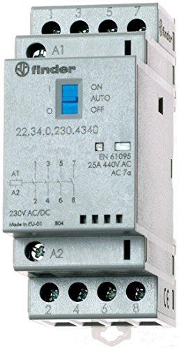 Finder 223402304340PAS Installationsschütze, modular, 230VAC/DC, 4 Schließer, Öffner, 25A, Kontaktmaterial: AgSnO2, mechanische Anzeige, LED-Anzeige, mit Schalter