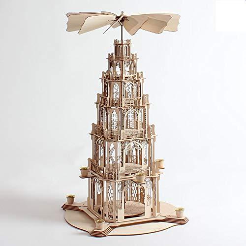 DAMASU-Holzkunst Holzbastelsatz Pyramide Gotisch 5 Etagen Natur