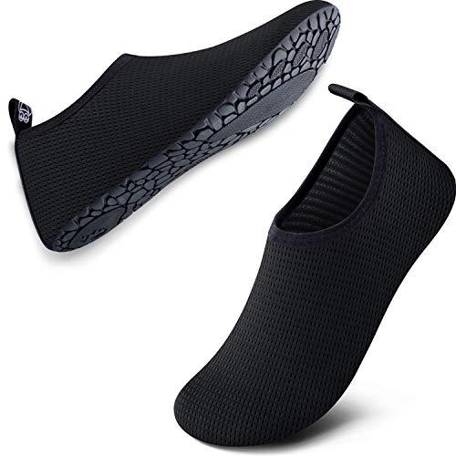 SIMARI Unisex Water Sports Shoes Barefoot Aqua Socks Slip-on Indoor Outdoor Activities SWS002 151 Black W:11.5-12.5