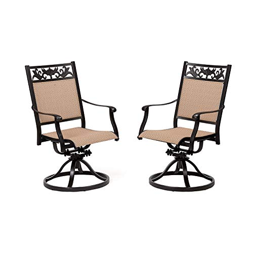 CW Chair Patio Swivel Dining Chairs Cast Aluminum High Back Outdoor Sling Rocker, Weather Resistant Metal Furniture Set for Lawn Garden Backyard, Set of 2, Dark Brown