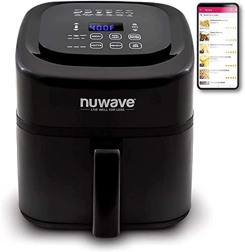 NuWave Brio 6-Quart Air Fryer with App Recipes (Black) Includes Basket Divider, One-Touch Digital Controls, 6 Easy Presets, Wattage Control, and Advanced Functions like SEAR, PREHEAT, DELAY, WARM and More (NEW UPDATED MODEL)
