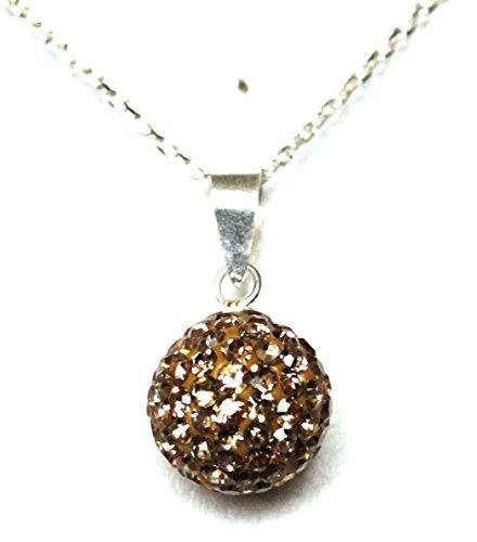 Licht Topaz sterling zilver 925 en AAA kristallen ketting. BIRTHSTONE NOVEMBER. Een cadeau met betekenis. 10MM kogelhanger op een 18