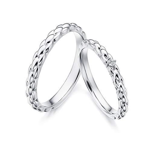 Epinki Anillo Oro Blanco 18k Trigo Forma Cuatro Garras Diamante 0.03ct Anillos de Compromiso para Novia Novio