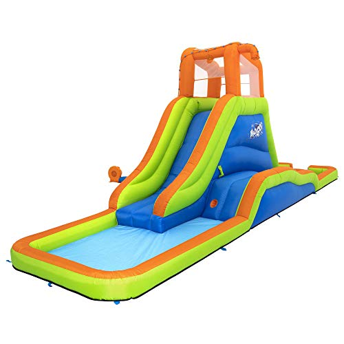 H2OGO! 22 x 6 x 8 Foot Aquaventure Kids Inflatable Backyard Mega Water Splash Park Bounce House with Climbing Wall, 2 Slides, and 2 Kiddie Pools -  Bestway, 53355E-BW