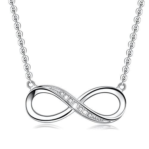 E.INFINITY Colgante con el Símbolo de Infinito para Mujer, Joya de Plata Esterlina 925 con Forma de Corazón Chapado en Oro