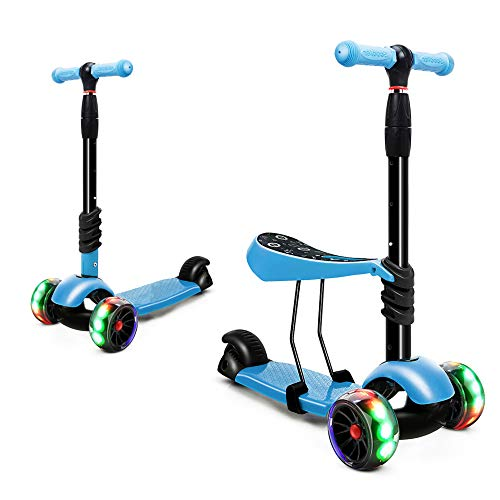 XJD 2 in 1 Toddler Scooter with Removable Seat Scooters for Kids Scooter 3 Wheel Kick Scooters for Girls Boys Adjustable Height Extra Wide Deck Scooter for Children from 2 to 8 Years Old, Blue