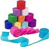 12 Rollen Bunt Krepppapier Rollen 25m x 4.5 cm Kreppbänder Crepe Paper Creppapier zum Basteln für Hochzeit Taufe Party Geburtstagsfeier und Abschlussfeier Weihnachten Dekoration (Stil A)