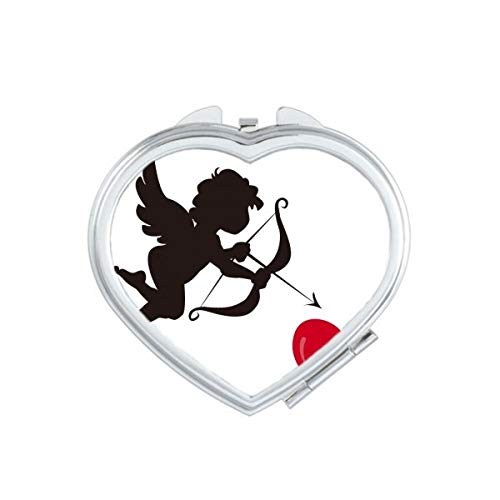 DIYthinker Cupidon Ange Amour Coeur Motif Coeur Miroir de Maquillage Compact Portable Cute Cadeau Miroirs de Poche à la Main Multicolor