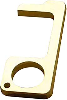 Contactless Safety Door Opener,Hygienic door handle, antibacterial EDC Safety Protection Isolation Brass Key door opener, easy to carry (Gold)