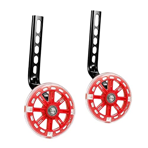 1 Pair Kids' Bicycle Training Wheels Flash Mute Heavy Duty Rear Stabilizers (for 12 14 16 18 20 inch Kids Bike) - Red