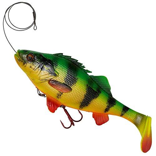 Savage Gear 4D Line Thru Perch Gummifisch Barsch zum Spinnfischen, Gummiköder zum Schleppangeln, Hechtköder, Spinnköder, Farbe:Firetiger, Länge/Gewicht:17cm - 63g