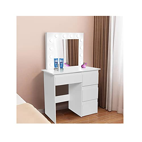 Lnarniaw Vanity Desk with 4 Drawers and Lighted Mirror, Makeup Vanity Table Set with Dimmable LED Lights Mirror, Dressing Table for Girls Women Bedroom Bathroom Small Space