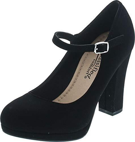 City Classified Comfort Nola Women's Closed Toe Ankle Strap Block Heel (8, Black Nubuck)