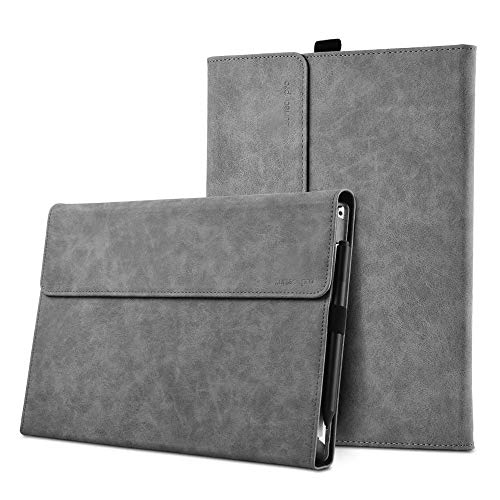 """xisiciao Protective case for Surface Pro 6 / Pro 5 / Pro 4 with Pen Holder, Multiple Angle Polyester Slim Light Shell Cover, Compatible with Type Cover Keyboard. (12.3"""", Gray)"""