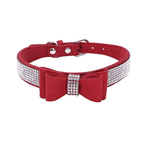 MXJMSD Collares para Mascotas De Cristal De Bling Ajustable De 61X3cm, para con Los Accesorios para Mascotas De Perros Grandes Bowknot,Rojo,27~33cm