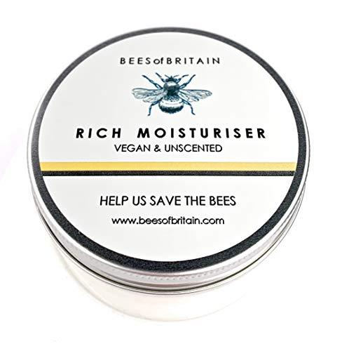 Natural CREMA HIDRATANTE FACIAL - SIN PERFUME & VEGANO - 100 g - BEES OF BRITAIN - Crema Para Pieles Sensibles, no Irritante. Donamos el 5% de Ganancias Para Ayudar a Salvar Abejas y Polinizadores.