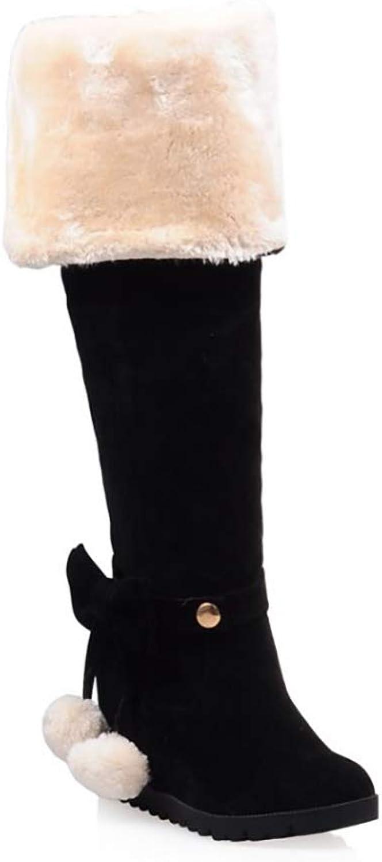 HY Damen Hohe Stiefel Wildleder Herbst Winter Plus Kaschmir Overknee Stiefel Ladies Inside Erhöhen Große Schneeschuhe Stiefel (Farbe   C, Größe   36)    Ich kann es nicht ablegen    Preiszugeständnisse    Maßstab ist der Grundstein