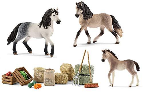 4in1-SET Schleich Pferde Horse Club - Andalusier Familie mit Futterset 13821 + 13822 + 13793 + 42105