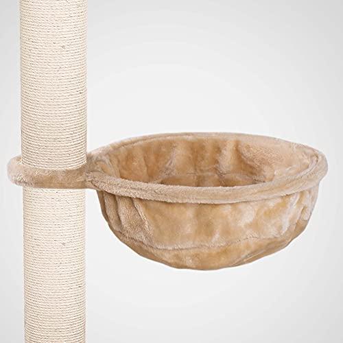 Happypet® Ø 40cm Universal XL Liegemulde für Kratzbaum, kuschelige Schlafmulde, Stabiler Metallrahmen, mit weichem Plüsch bezogen, Ersatzteil, Flauschige große Liegemulde belastbar bis 15kg