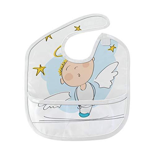 Zemivs Fliegen Engels Karikatur Fee Schaukel Gewohnheit weiches waschbares Fleck und Geruch beständiges Baby das Dribble Sabberlätzchen Lätzchen spuckt Tücher für Säuglingsoverall für 6-24 Monate