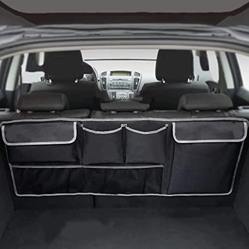 UYYE Car Trunk Hanging Organizer, Car Trunk Back Seat Organizer,Car Hanging Bag with 4 Pockets & 2 Mesh Pouches,Storage for Groceries,Will Provides More Storage Trunk Space for SUV, Truck, Jeep,MPVs