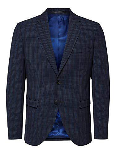 SELECTED HOMME Slhslim-Mylologan Gr Chk BLZ B Noos Blazer, Blu (Navy Blue Checks:Grey), 62 IT Uomo