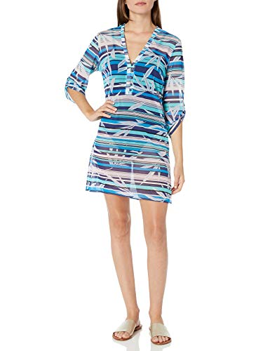 Profile by Gottex Women's Shirtdress Swimsuit Cover up, Palm Beach Multi Blue, Large
