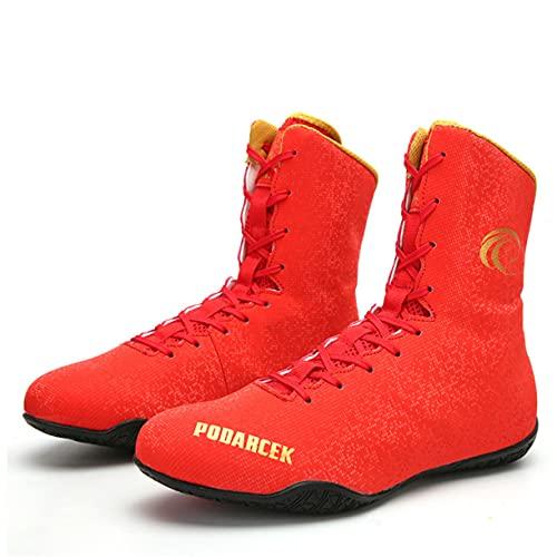 WJFGGXHK Zapatos de boxeo de lucha libre, zapatos de boxeo de alta parte superior, suela de goma con cordones transpirables Taekwondo, color naranja, 40