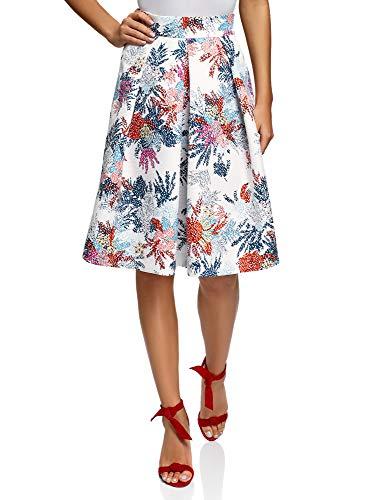 oodji Collection Mujer Falda Midi con Pliegues, Multicolor, ES 36 / XS