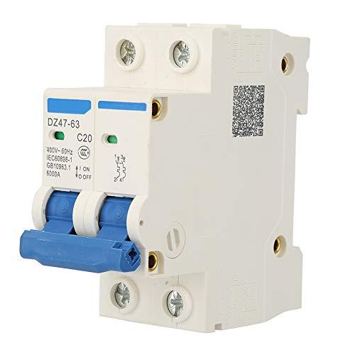 Disyuntor en miniatura DZ47-63 2 P Mini disyuntor Interruptor de corte de panel de doble polo Disyuntor 400VAC(20A)