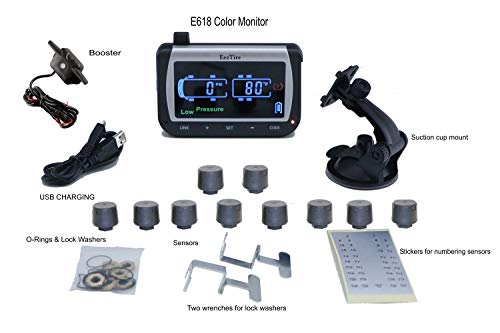 EEZTire-TPMS10ATCB Real Time/24x7 Tire Pressure Monitoring System - Color Monitor + 10 at Sensors + Booster, incl. 3-Year Warranty