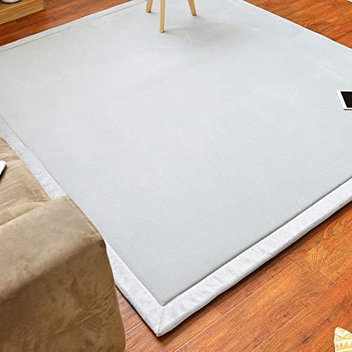 DM&FCS Tatami Tatamimatte Matratzenschutz, Coral Velvet Folding Bereichs-wolldecke Fußmatten Futon-matten Crawling Mat Yoga-Matte Anti-Skid Wohnzimmer-hellgrau 200x220cm(79x87inch)