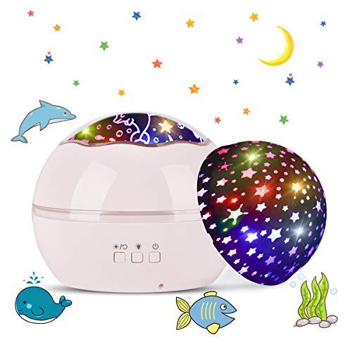 Tyhbelle LED Projektor Lampe,Sternenhimmel Baby Nachtlicht 2 in 1 Ozean Projektor & Sterne Nachttischlampe 360° Grad Rotation Projektionslampe 8-Farbwechsel Perfekt für Kinder Schlafzimmer(Pink)