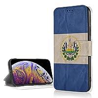 El Salvador Flag Striped エルサルバドル国旗ストライプ IPhoneXR フリップ ケース 手帳型 磁気閉鎖 薄型 超軽量 多機能 ICカード収納 耐衝撃 滑り防止 折りたたみ スタンド高級PUレザー 保護カバー