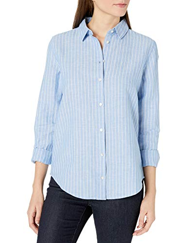 Amazon Essentials Relaxed-fit Long-Sleeve Linen Shirt Dress-Shirts, Rayas Azules francesas, S