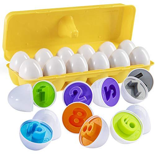 PREXTEX Encuentra y combina números de Huevos de Pascua con Soporte de Huevos Amarillos - Stem Toys Juguete Educativo de Huevos de Pascua para niños y niños pequeños para Aprender sobre números