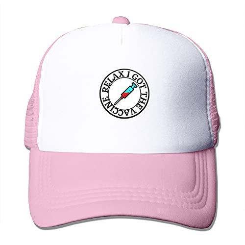 Gymini Vaccinated I Got My Vaccine Trucker Gorras de malla con red de PC cifrada transpirable ajustable para hombres y mujeres rosa