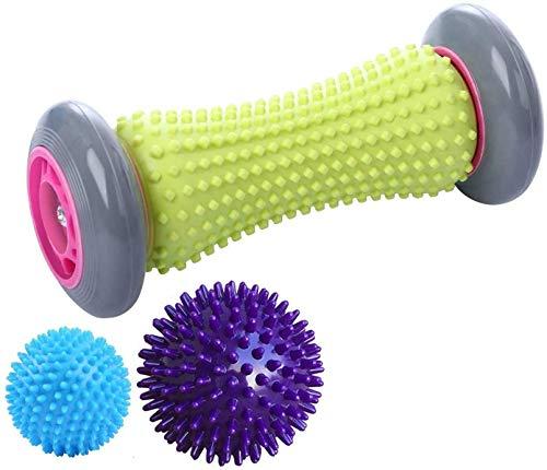 EUKO Fußmassageroller Massagebälle Set für Plantarfasziitis Igelbälle Muskel Roller in verschiedenen Härtegraden 3er Set