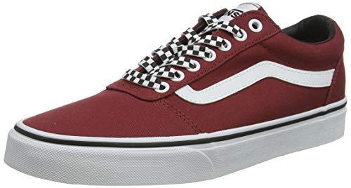 Vans Ward Canvas, Sneaker Hombre, Red Checker Encaje Rosewood Blanco W9z, 42...