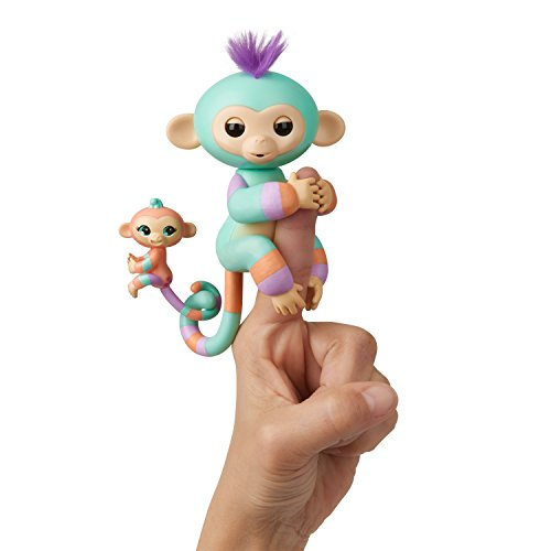 WowWee Fingerlings Baby Monkey & Mini BFFs - Danny & Gianna (Turquoise-Orange) 3544