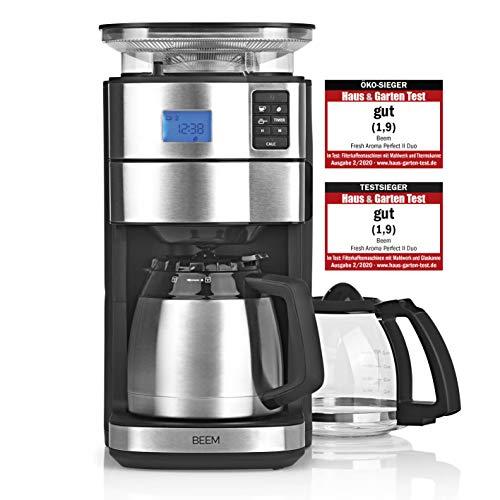 BEEM FRESH-AROMA-PERFECT II Macchina da caffè filtro con macinacaffè - Duo | BASIC SELECTION | acciaio inox | caraffa in vetro e caraffa sottovuoto | 24h-Timer | 1000 W