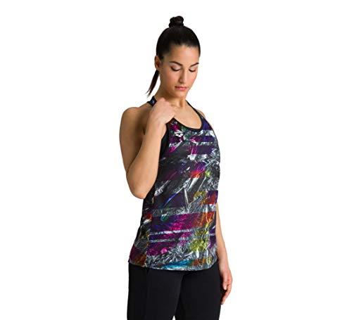 ARENA Damen Tank Top Gym Solid Camiseta de Tirantes, Mujer, Iridescent Stripe-Black, Medium