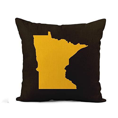 Throw Pillow Cover Simple Minnesota Border Map América abstracta Cartografía americana Color Funda de almohada Decoración para el hogar Funda de almohada de lino de algodón cuadrada Funda de cojín