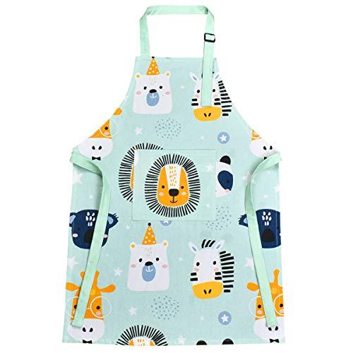 AUBEY Delantal para niños de 6 a 12 años, de algodón, ajustable, con bolsillo, para pintar, cocinar, hornear, cocinar, regalo, azul, L