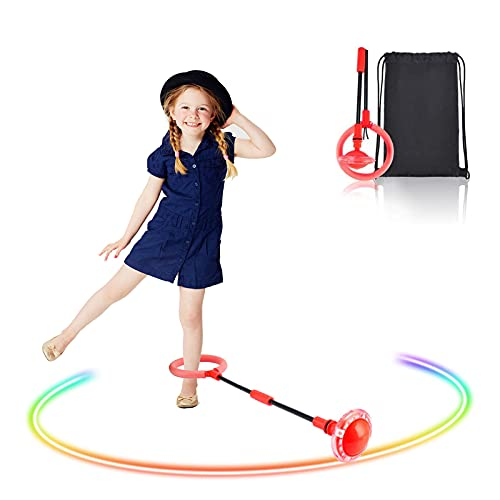 GUBOOM Bola de Salto de Tobillo, Anillo de Salto Intermitente, Anillo de Salto de Tobillo Plegable, Equipo de Juguete de Fitness para niños, Apto para niños y Adultos. (Rojo)